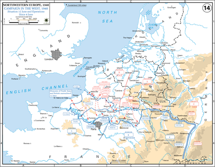 German advances during the Battle of France 4June-12June Battle of France.PNG