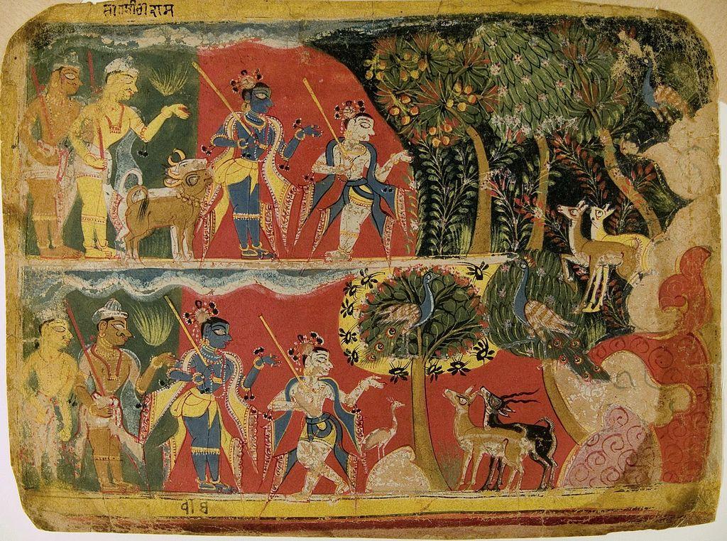 Krishna and Balarama Taking the Cattle to Graze Folio from a Bhagavata Purana Manuscript 1520-40. Museum Rietberg, Zurich