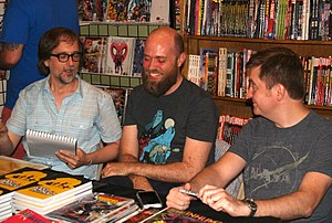 Charles Soule - Soule (right) with (from left) fellow writers Joe Infurnari and Jeffrey Burandt at a signing at JHU Comics in Manhattan