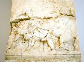 Battle of Chaeronea (338 BC) - Funerary relief for Athenian footsoldier Pancahres, who probably fell at the battle of Chaeronea.
