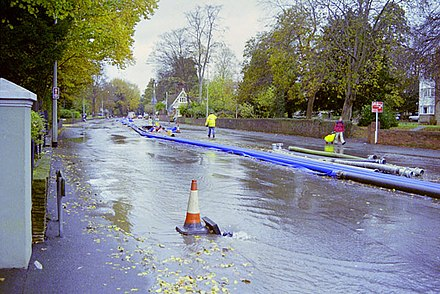 The underground Wellesbourne can rise to the surface during heavy rain, as in November 2000 when it flooded the London Road in Preston village. A23 closed by floods, November 2000 - geograph.org.uk - 1656937.jpg