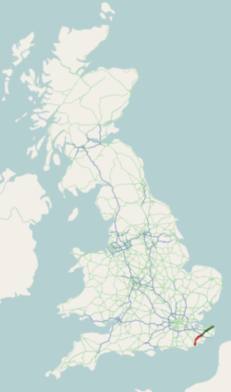 A28 road - Image: A28 road map