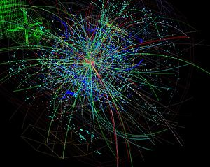 ALICE experiment - Proton-Lead ion collision recorded by the ALICE Experiment on 13 September 2012 at a center of mass energy per colliding nucleon-nucleon pair of 5.02 TeV.