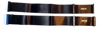 Parallel ATA - Comparison between ATA cables: 40-wire ribbon cable (top), and 80-wire ribbon cable (bottom). On both cases, the connector is intended for 40-pin devices.