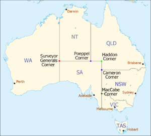 Poeppel Corner - AUS map with named state corners