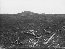 A black and white photograph of a mound