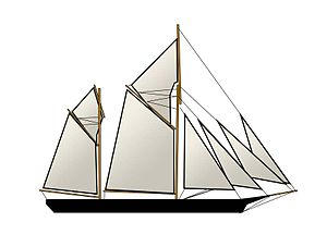 Ketch - A double-gaff ketch with a Bermuda-rigged main topsail and a lug-rigged mizzen topsail