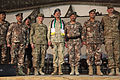 A Polish commander, center, and official party members pose for a photo during a change of command ceremony for the Jordanian Armed Forces, Task Force 222 at Bagram Airfield in Parwan province, Afghanistan 131221-A-RU942-141.jpg