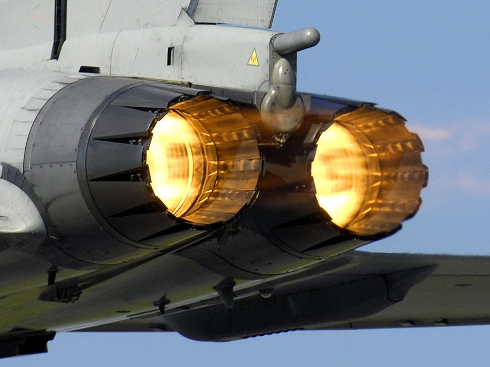 A Typhoon F2 fighter ignites its afterburners whilst taking off from RAF Coningsby MOD 45147957