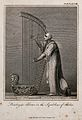 A man is playing a large harp which carries an Egyptian figu Wellcome V0040318.jpg