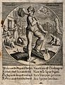 A man is standing on a log with an axe in his hand chopping Wellcome V0039563.jpg