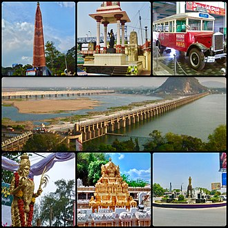 Vijayawada - Clockwise from top left: VMC pylon, Krishnaveni statue, Deccan Queen, Krishna River and Prakasam Barrage, police control room junction, Kanaka Durga Temple and Telugu Thalli statue