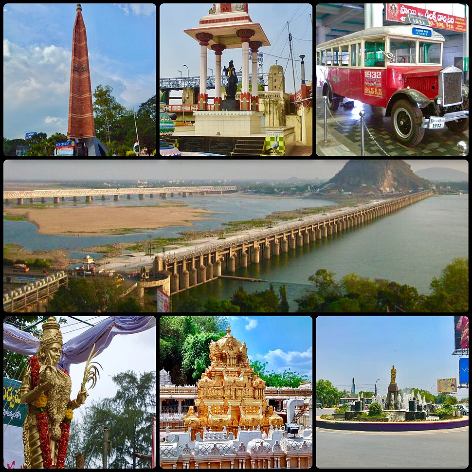 Clockwise from top left: VMC pylon, Krishnaveni statue, Deccan Queen, Krishna River and Prakasam Barrage, police control room junction, Kanaka Durga Temple and Telugu Thalli statue