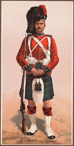 Black Watch - A sentry at ease, Black Watch (Royal Highlanders), 1892.