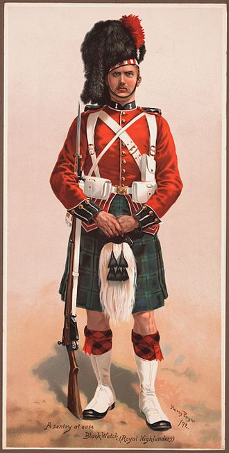 Black Watch - A sentry at ease, Black Watch (Royal Highlanders), 1892.