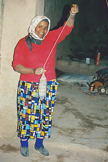 A spinning female from Morocco with drop spindle.jpg