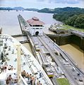 A view from the bridge of Gripsholm or Kungsholm of the Pedro Miguel Lock, Panama Canal, with the Miraflores Lock in the background (5074435327).jpg
