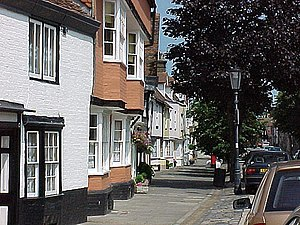 Faversham - Abbey Street, which includes many historic houses, was saved from demolition in the 1950s.