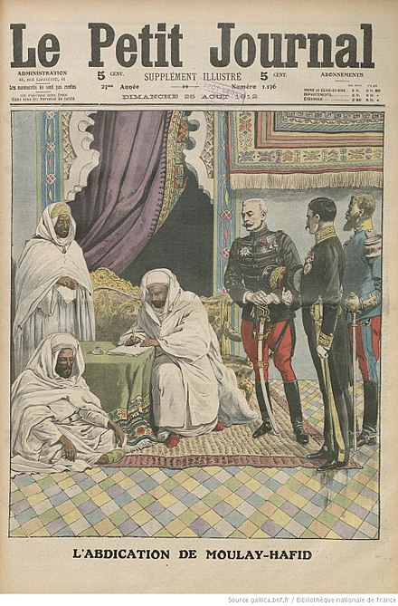 An illustration of Abd al-Hafid signing the Treaty of Fes on the front page of Le Petit Journal's weekly Supplément illustré, printed August 25, 1912.