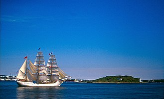 Halifax Harbour - The barque Europa beside Georges Island in Halifax Harbour in 2004