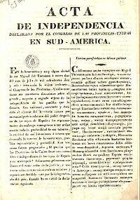 Declaración de la Independencia de las Provincias Unidas en Sud América, redactada en idioma español y quechua