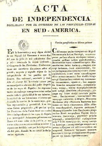 Argentine Declaration of Independence - Image: Acta Independencia argentina quechua