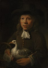 Boy Holding a Goose and a Basket