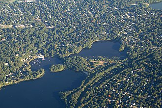 Mystic Lakes (Boston) - Aerial photograph of Upper Mystic Lake