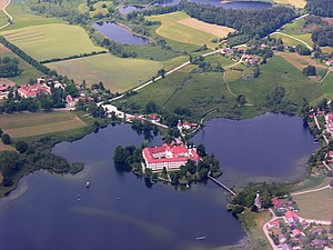 Seeon Lakes - Seeon Abbey on an island in the Klostersee (l.tr.: Abbey Lake)