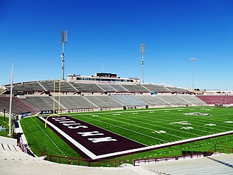 Aggie Memorial Stadium - Image: Aggie Memorial Stadium West Side Stands & Press Box 01