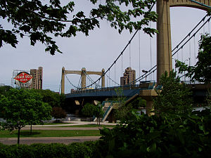 Northeast, Minneapolis - The gateway to Northeast: the Hennepin Avenue Bridge and the landmark Grain Belt beer sign.