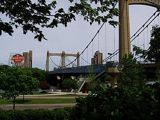 Northeast, Minneapolis - The gateway to Northeast: the Hennepin Avenue Bridge and the landmark Grain Belt beer sign.