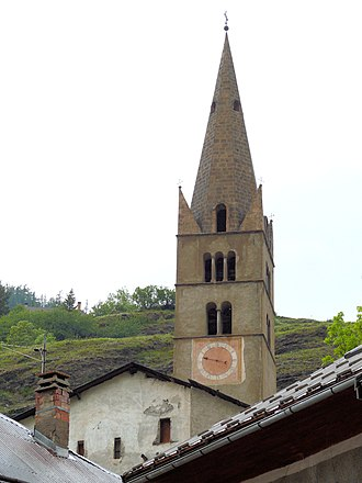 Aiguilles - The bell tower of the church of Saint-Jean-Baptiste