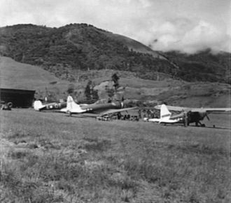 25th Air Support Operations Squadron - 25th Liaison Squadron L-5 and other aircraft at Wau airfield New Guinea 1944