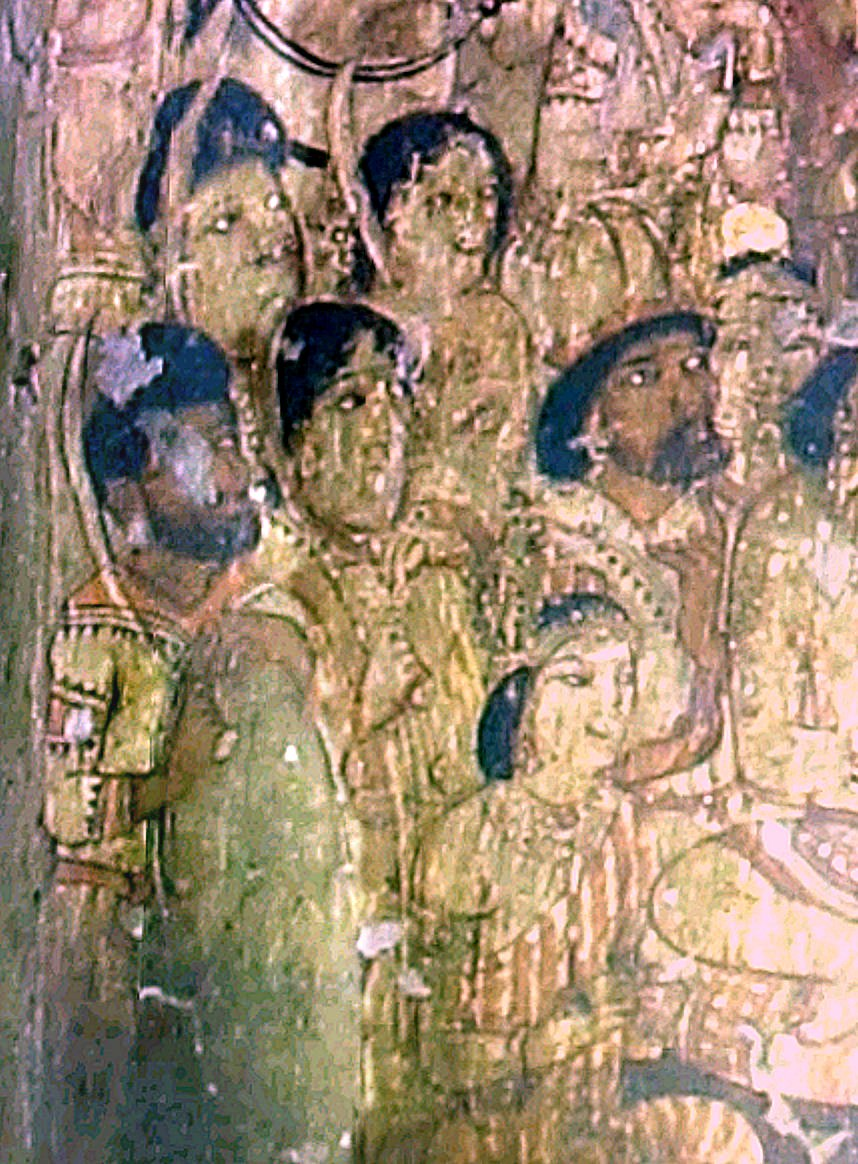 Ajanta Cave 17 frescoe detail with dark foreigners
