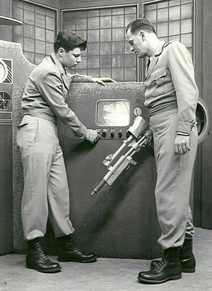Science fiction on television - A scene from the early American science fiction television program Captain Video which aired from 1949 to 1955.