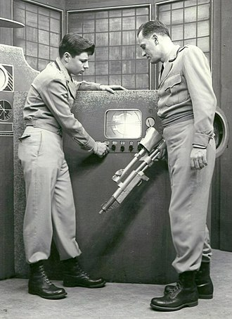 Science fiction on television - A scene from the early American science fiction television program Captain Video which aired from 1949 to 1955