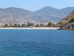 View over the Cleopatra-beach in Alanya, Turkey.