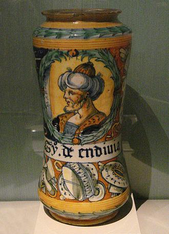 Albarello - Image: Albarello with head of a Turk Faenza 1555