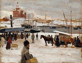 Winter Day in Helsinki Market Square, Study