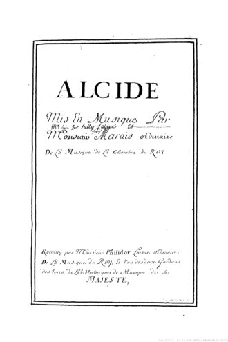 Alcide (opera) - The title page of the Alcides