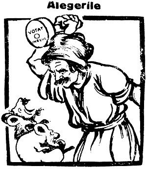 People's Party (interwar Romania) - A Peasantist cartoon of 1926, portraying Averescu and Ion I. C. Brătianu as vermin. The peasant voter is encouraged to stamp them out at the ballot box