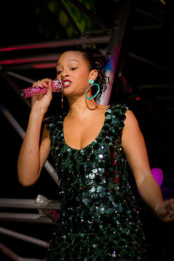 Alesha Dixon performing in Leeds in 2008.
