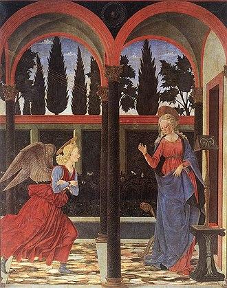 Alesso Baldovinetti - Annunciation (1447) Tempera on wood, 167 x 137 cm Galleria degli Uffizi, Florence.
