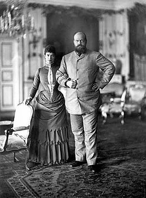 Alexander III of Russia - Alexander and his wife Empress Maria Fyodorovna on holiday in Copenhagen in 1893.