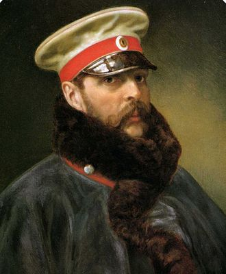 Peaked cap - Alexander II in cap (unknown artist, c. 1865)