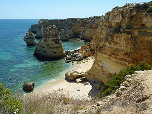 Algarve - Algarve's typical coast (Marinha Beach, near Lagoa).