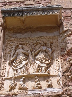 English: Alquézar - Detail in colegiate church...
