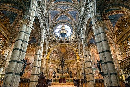 Pilastri con angeli e l'altare, Cattedrale di Santa Maria Assunta, Siena