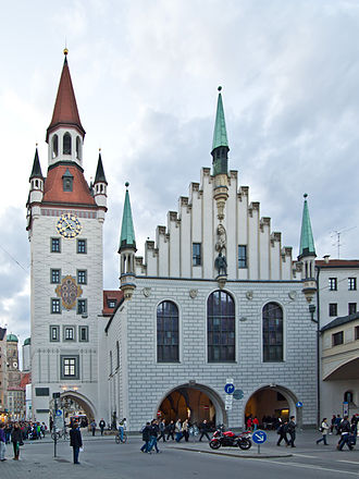 Old Town Hall, Munich - Old Town Hall, eastside, view from Tal